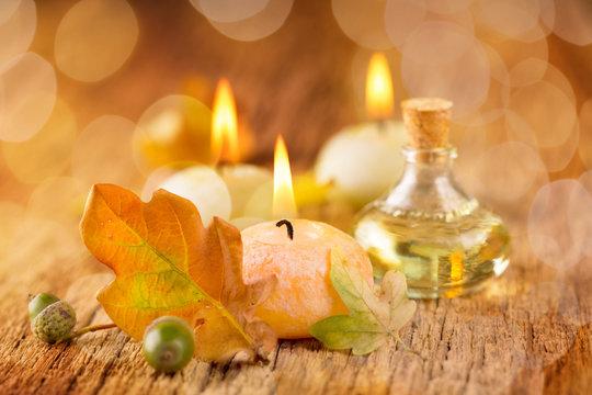 Herbst  -  Spa Still Life  -  Kerzen und Massageöl