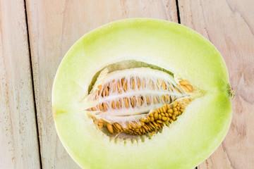 Half of honeydew melon.