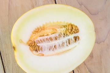 Half of golden honeydew melon.