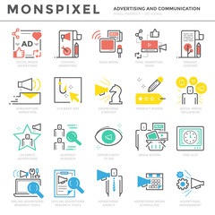 Flat thin line Icons set of Advertising and Communication. Pixel Perfect Icons. Simple linear pictogram pack stroke vector logo concept for web graphics.