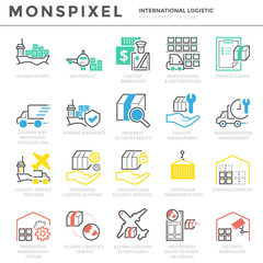 Flat thin line Icons set of International Logistic . Pixel Perfect Icons. Simple linear pictogram pack stroke vector logo concept for web graphics.