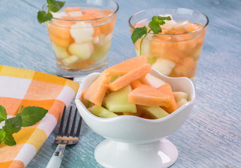 Pieces of variety of melons and glasses of melon mint infused water.