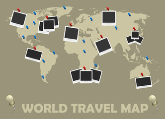 World travel map with photo frames and pins. Journey concept design. Vector illustration