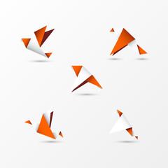 origami orange birds in modern style. Vector