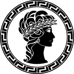 profile of ancient woman. vector illustration