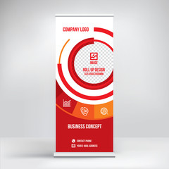 Roll-up banner design, stand template