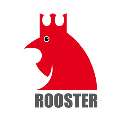 Bird rooster, symbol of the new year 2017. Sign in the Chinese calendar. Stylized, cartoon, icon, vector. Isolated on white background.