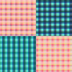 Set of plaid seamless patterns. Vector illustration. Can be used for wallpapers, textiles, fabrics, textures, wrapping paper, covers, cards.