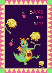 Vector card Save the date. Happy dragon with beautiful flowers.