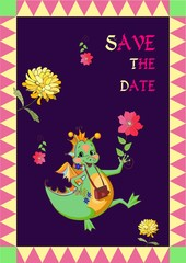 Save the date. Cute greeting or invitation card. Happy dragon with beautiful flowers. Vector illustration.