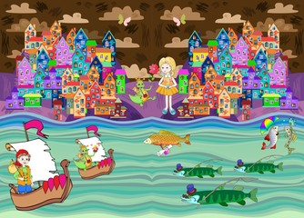Fantasy vector illustration of fairy town on river coast. Can be used for textile design , web sites, as illustrations for books and magazines, for design packing confectionery, biscuits, chocolate.