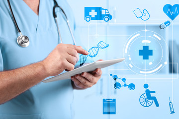Doctor with digital tablet. Medical technology concept