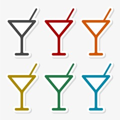 Martini Glass Icon, Set of drinks icons