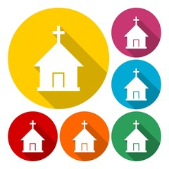 Church with cross symbol for download icons set