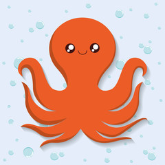 Sea animal cartoon design represented by octopus icon. Colorfull and flat illustration.