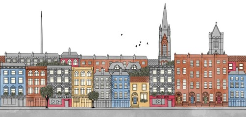 Dublin, Ireland - seamless banner of Dublin's skyline, hand drawn and digitally colored ink illustration