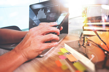 Website designer working digital tablet and smartphone and digit