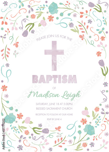 Baptism Christening First Communion Card Invitation Template With
