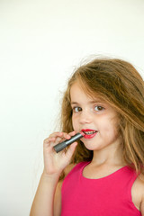 head shot of girl with lipstick