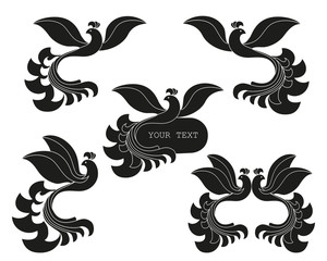 Vector set of abstract silhouette of the bird. The template for logos, signs, labels.