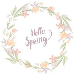 Hello Spring Watercolor Floral Wreath Graphic - Vector