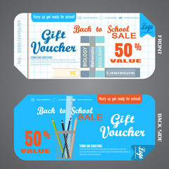 Blank of back to school gift voucher vector illustration to increase sales on white checkered and blue background.