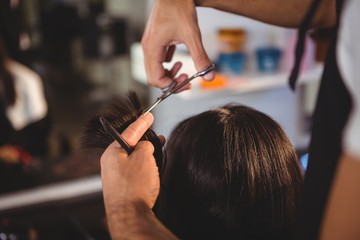 Female getting her hair trimmed