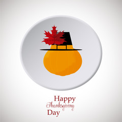 Thanksgiving pumpkin hat on white button