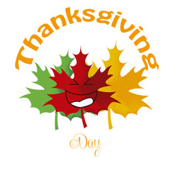 three leafs mapple, thanksgiving illustration,  smiling, kawai e