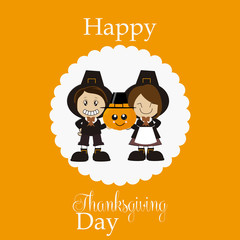 Thanksgiving pilgrims of expression kawai holding pumpkin on ora