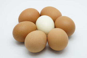 A boiled egg in the middle six hen eggs