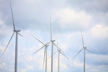 Wind turbines with the clouds and sky
