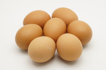 Seven chicken eggs