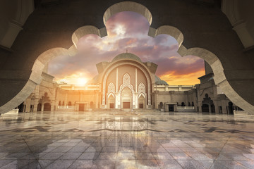 In framming Muslim pray at the mosque with harsh sunset light Wall mural