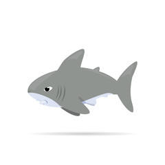 Vector illustration ,white shark ,Cartoon