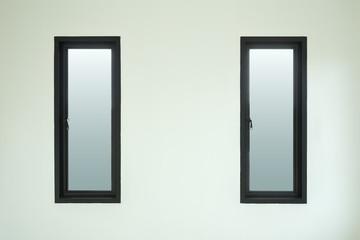 modern black aluminium window with white wall