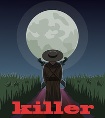 A hired killer on the road/ The assassin waits for its prey in the moonlight to the field where the road