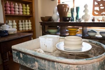 Pottery wheel in pottery workshop