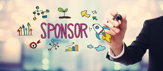 Businessman drawing Sponsor concept