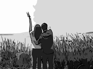 romantic with couple silhouettes art in love and sky