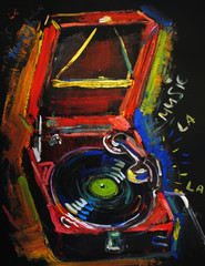 music painting background gramophone art