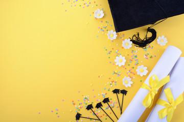 Yellow black and white theme graduation background