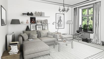 Bücher im Wohnzimmer, Einrichtung und Dekoration (Plan)