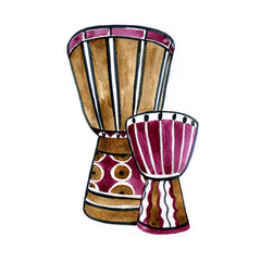 Drums ethnic in watercolor style. Colorful hand drawn illustration