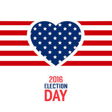 Election day sign. Red white and blue flag lines with heart silhouette. Vector illustration.