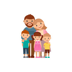 Happy family of five, posing together, vector illustration