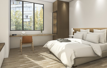 3d rendering beautiful small bedroom with nice wall texture