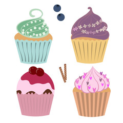 isolated set of cupcakes