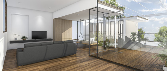 3d rendering nice view living room with wood terrace