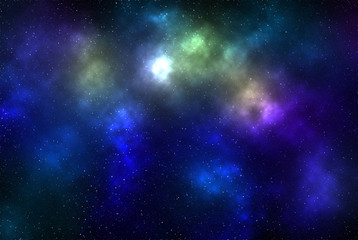 Digital illustration of a bright star on glowing deep-space background with colorful gaseous clouds and stars as background for creative design